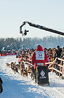 Iditarod musher Dallas Seavey leaves the gate at the Restart of Iditarod 2012, Willow, Alaska, March 4, 2012