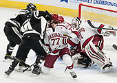 Kasper Björkqvist (PC - 20), Scott Conway (PC - 10), Lewis Zerter-Gossage (Harvard - 77), John Marino (Harvard - 12), Merrick Madsen (Harvard - 31) - The Harvard University Crimson defeated the Providence College Friars 3-0 in their NCAA East regional semi-final on Friday, March 24, 2017, at Dunkin' Donuts Center in Providence, Rhode Island.