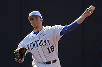 University of Kentucky Wildcats pitcher A.J. Reed #18 before a game against the University of Virginia Cavaliers at Brooks Field on the campus of the University of North Carolina at Wilmington on February 14, 2014 in Wilmington, North Carolina. Kentucky defeated Virginia by the score of 8-3. (Robert Gurganus/Four Seam Images)