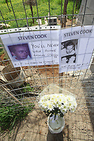 Pictured: Flowers and tributes left at the area where the remains of Steven Cook where discovered in Malia, Crete, Greece. Saturday 25 February 2017<br /> Re: Police have found the remains of the body in a well near a cemetery in Malia, on the Greek island of Crete with local news outlets speculating that it maybe that of 20 year old Briton Steven Cook who went missing on the 1st of September 2005. A disposable camera and a belt were reportedly found next to the remains.