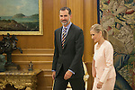 King Felipe VI of Spain receives President of Madrid Region, Cristina Cifuentes, during an official meeting at Zarzuela Palace in Madrid, Spain. July 03, 2015. (ALTERPHOTOS/Victor Blanco)
