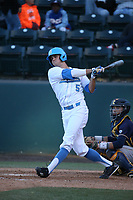 Sean Bouchard (5) of the UCLA Bruins bats against the California Bears at Jackie Robinson Stadium on March 25, 2017 in Los Angeles, California. UCLA defeated California, 9-4. (Larry Goren/Four Seam Images)