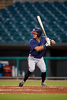 Mississippi Braves right fielder Keith Curcio (14) at bat during a game against the Montgomery Biscuits on April 24, 2017 at Montgomery Riverwalk Stadium in Montgomery, Alabama.  Montgomery defeated Mississippi 3-2.  (Mike Janes/Four Seam Images)