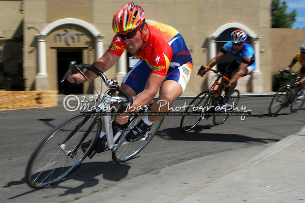 Scott Hembrie (Patent-It!) takes a hard corner during the Arizona Criterium Championships in Scottsdale Arizona on April 9th 2006.