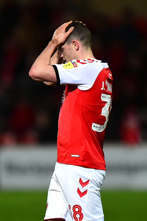 Fleetwood Town's James Wallace shows his dejection<br /> <br /> Photographer Richard Martin-Roberts/CameraSport<br /> <br /> The EFL Sky Bet League One - Fleetwood Town v Portsmouth - Saturday 29th December 2018 - Highbury Stadium - Fleetwood<br /> <br /> World Copyright © 2018 CameraSport. All rights reserved. 43 Linden Ave. Countesthorpe. Leicester. England. LE8 5PG - Tel: +44 (0) 116 277 4147 - admin@camerasport.com - www.camerasport.com