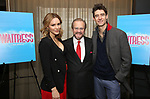 "Katharine McPhee with producer Barry Weissler and costar Drew Gehling during the Katharine McPhee joins the Broadway cast of ""Waitress"" photocall at the Knickerbocker Hotel's St. Cloud Bar on 3/29/2018 in New York City."