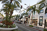 Luxury designer shops at the Rodeo Collection on Rodeo Drive, Beverly Hills, CA