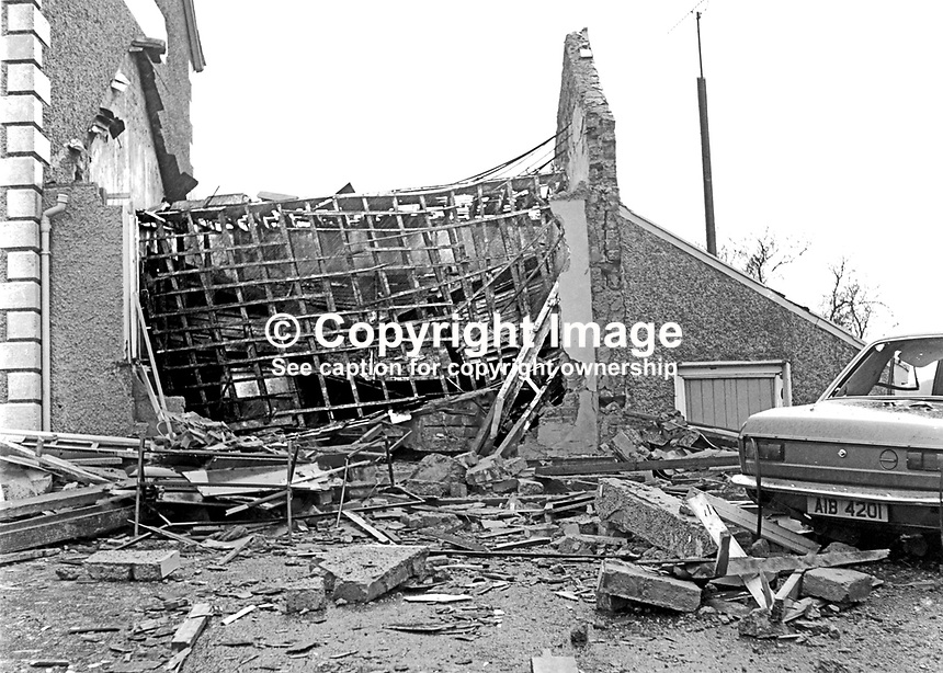 All that remains of Traynor's Pub in Kilmore, Co Armagh, following a UVF bomb attack on 19th February 1974 in which two customers died. Years later a self-confessed UVF member was jailed for life for the attack. 197402190109<br />