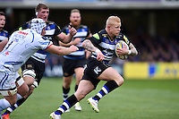 Tom Homer of Bath Rugby goes on the attack. Aviva Premiership match, between Bath Rugby and Exeter Chiefs on October 17, 2015 at the Recreation Ground in Bath, England. Photo by: Patrick Khachfe / Onside Images