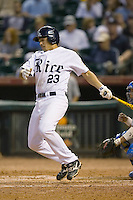 Anthony Rendon #23 of the Rice Owls follows through on his swing versus the UCLA Bruins in the 2009 Houston College Classic at Minute Maid Park February 27, 2009 in Houston, TX.  The Owls defeated the Bruins 5-4 in 10 innings. (Photo by Brian Westerholt / Four Seam Images)