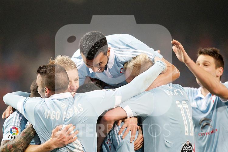 Celta de Vigo's Iago Aspas, Daniel Wass, Gustavo Cabral, Pablo Hernandez, John Guidetti and Nemanja Radoja celebrate goal with his partners during Spanish Kings Cup match. January 27,2016. (ALTERPHOTOS/Acero)