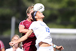02 October 2011: Duke's Kim DeCesare (19) and Virginia Tech's Kelly Conheeney (behind) challenge for a header. The Duke University Blue Devils defeated the Virginia Tech Hokies 1-0 at Koskinen Stadium in Durham, North Carolina in an NCAA Division I Women's Soccer game.