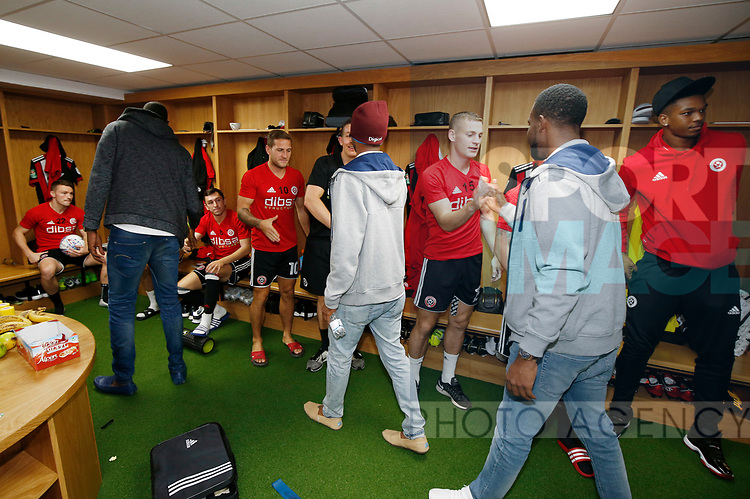 Sheffield Utd players meet the West Indian cricket team during the Carabao Cup, second round match at Bramall Lane, Sheffield. Picture date 22nd August 2017. Picture credit should read: Simon Bellis/Sportimage