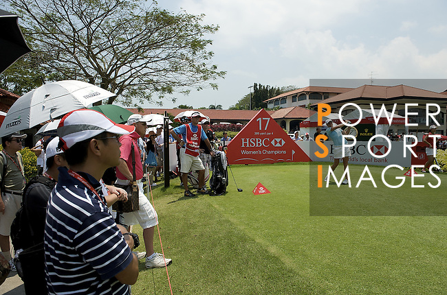 SINGAPORE - MARCH 08:  Kristy McPherson of the USA tees off on the par four 17th hole during the final round of HSBC Women's Champions at the Tanah Merah Country Club on March 8, 2009 in Singapore. Photo by Victor Fraile / The Power of Sport Images