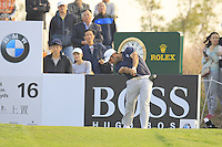 Alexander Levy (FRA) tees off the 16th tee during Sunday's Final Round of the 2014 BMW Masters held at Lake Malaren, Shanghai, China. 2nd November 2014.<br /> Picture: Eoin Clarke www.golffile.ie