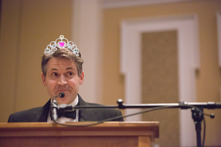 Dr. John McCarthy takes the stage after being crowned the winner of the 8th Annual Ava Nichols Faculty Pageant on Feb. 27, 2017. McCarthy said he would do anything for kids.