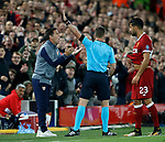 Referee Danny Makkelle sends Eduardo Berizzo manager of Sevilla to the stands during the Champions League Group E match at the Anfield Stadium, Liverpool. Picture date 13th September 2017. Picture credit should read: Simon Bellis/Sportimage