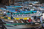 Squid Fishermen preparing to go night fishing in Santa Rosalia, Baja California Mexico