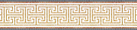 "9 1/4"" Maze border, a hand-cut stone mosaic, shown in polished Giallo Reale, Thassos, Rojo Alicante, and Bardiglio."