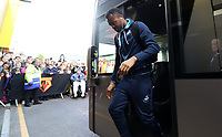 Jordan Ayew of Swansea City arrives at Vicarage Road Stadium prior to kick off of the Premier League match between Watford and Swansea City at Vicarage Road Stadium, Watford, England, UK. Saturday 15 April 2017