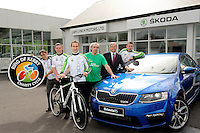 SKODA and their Kerry dealer Liam Lynch Motors in Farranfore, County Kerry  are one of the main sponsors of the Ring of Kerry Charity Cycle and this years some staff members will participate in aid of one of the charities, the 'Kerry Friends of Motor Neurone''. Pictured at the garage when details of their sponsorship was announced were from left, Kate Spring, Maurice Dowling, Liam Lynch, Christy Lehane, Kerry Friends of Motor Neurone, Liam Lynch, proprietor and Mike Murphy.<br /> Picture by Don MacMonagle<br /> <br /> REPRO FREE PHOTO