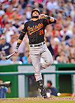 18 May 2012: Baltimore Orioles outfielder Nick Markakis gets hit by a foul ball during an at bat against the Washington Nationals at Nationals Park in Washington, DC. The Orioles defeated the Nationals 2-1 in the first game of their 3-game series. Mandatory Credit: Ed Wolfstein Photo