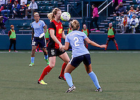 Rochester, NY - May 21, 2016: Western New York Flash's Samantha Mewis (5) and Sky Blue FC's Shawna Gordon (2) during a National Women's Soccer League (NWSL) match at Sahlen's Stadium. The Western New York Flash go on to win 5-2.