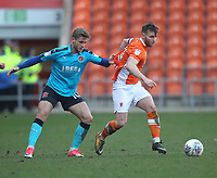 Blackpool's Jimmy Ryan in action with Fleetwood Town's Conor McAleny<br /> <br /> Photographer Mick Walker/CameraSport<br /> <br /> The EFL Sky Bet League One - Blackpool v Fleetwood Town - Saturday 14th April 2018 - Bloomfield Road - Blackpool<br /> <br /> World Copyright &copy; 2018 CameraSport. All rights reserved. 43 Linden Ave. Countesthorpe. Leicester. England. LE8 5PG - Tel: +44 (0) 116 277 4147 - admin@camerasport.com - www.camerasport.com
