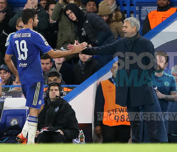 Chelsea's Diego Costa with Jose Mourinho<br /> <br /> UEFA Champions League - Chelsea v FC Porto - Stamford Bridge - England - 9th December 2015 - Picture David Klein/Sportimage