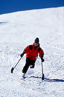Active lifestyle for handicapped person. Skiing.<br />