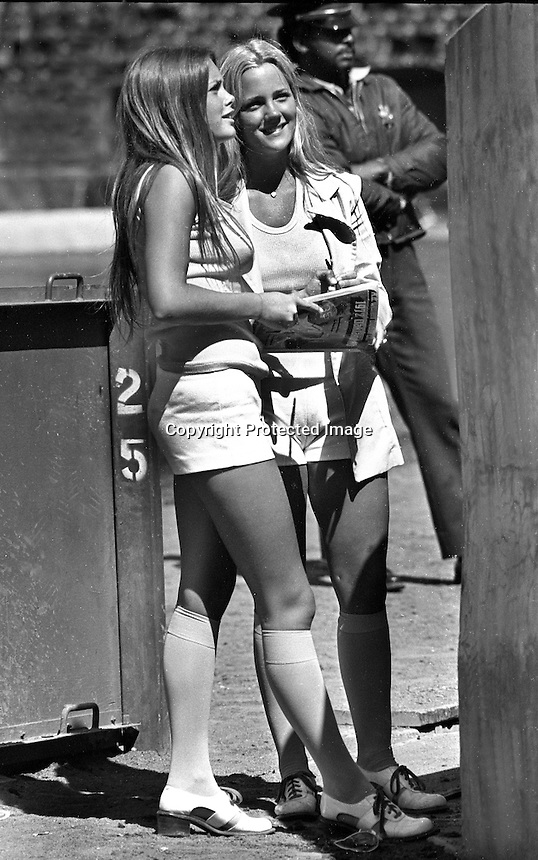 Oakland Athletics ball girls Debbie Sivyer and Mary Barry. (1972 photo by Ron Riesterer)