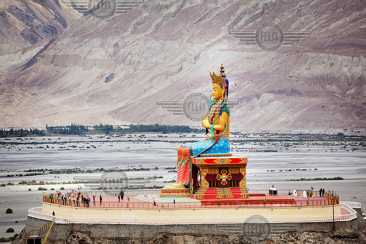 The Buddha Maitreya statue at the Deskit or Diskit Gompa, or Buddhist monastery in the Nubra Valley.