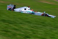 ATENCAO EDITOR: FOTO EMBARGADA PARA VEICULO INTERNACIONAL - SAO PAULO, RJ, 23 DE NOVEMBRO 2012 - O piloto alemao Michel Schumacher da Mercedes GP é visto durante a primeira sessão de treinos livres para o Grande Prêmio do Brasil de Fórmula 1, no Autódromo José Carlos Pace (Interlagos), na zona sul de São Paulo, nesta sexta-feira (23). A prova está marcada para as 14h do domingo (23). FOTO: PIXATHLON - BRAZIL PHOTO PRESS.