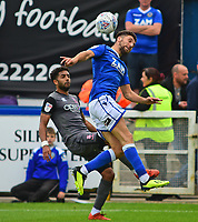Lincoln City's Bruno Andrade vies for possession with Macclesfield Town's James Pearson<br /> <br /> Photographer Andrew Vaughan/CameraSport<br /> <br /> The EFL Sky Bet League One - Macclesfield Town v Lincoln City - Saturday 15th September 2018 - Moss Rose - Macclesfield<br /> <br /> World Copyright &copy; 2018 CameraSport. All rights reserved. 43 Linden Ave. Countesthorpe. Leicester. England. LE8 5PG - Tel: +44 (0) 116 277 4147 - admin@camerasport.com - www.camerasport.com