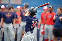 Nate Savino (30) during the Under Armour All-America Game Practice, powered by Baseball Factory, on July 21, 2019 at Les Miller Field in Chicago, Illinois.  Nate Savino attends Potomac Falls High School in Sterling, Virginia and is committed to the University of Virginia.  (Mike Janes/Four Seam Images)