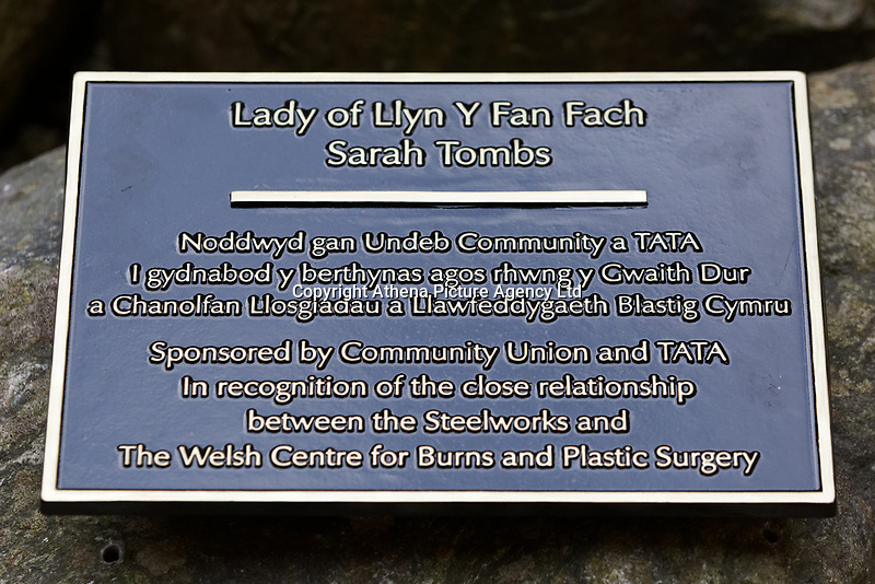 "Pictured: The commemorative plaque next to the statue. Monday 05 February 2018<br /> Re: A sculpture has been unveiled at Welsh Centre for Burns and Plastic Surgery in Morriston Hospital to commemorate its links with Port Talbot steelworks in Wales, UK.<br /> It was inspired by Welsh mythology and created from Tata steel by artist Sarah Tombs.<br /> The sculpture is of the legendary Lady of Llyn y Fan Fach and was unveiled by Abertawe Bro Morgannwg health board to mark the 70th birthday of the NHS.<br /> According to the Mabinogion and The Red Book of Hergest, she was mother of the Physicians of Myddfai, who used magical powers to heal the sick and symbolises ""regeneration and healing""."
