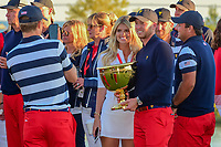 Daniel Berger (USA) and his girlfriend Victoria Slater hold the Presidents Cup following round 4 Singles of the 2017 President's Cup, Liberty National Golf Club, Jersey City, New Jersey, USA. 10/1/2017. <br /> Picture: Golffile | Ken Murray<br /> <br /> All photo usage must carry mandatory copyright credit (&copy; Golffile | Ken Murray)