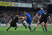 France's Wesley Fofana steps inside NZ's Ardie Savea during the Steinlager Series international rugby match between the New Zealand All Blacks and France at Forsyth Barr Stadium in Wellington, New Zealand on Saturday, 23 June 2018. Photo: Dave Lintott / lintottphoto.co.nz