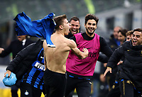 Calcio, Serie A: Inter Milano - Hellas Verona, Giuseppe Meazza stadium, November 9, 2019.<br /> Inter's Nicolò Barella (c) celebrates after scoring with his teammates during the Italian Serie A football match between Inter and Hellas Verona at Giuseppe Meazza (San Siro) stadium, on November 9, 2019.<br /> UPDATE IMAGES PRESS/Isabella Bonotto