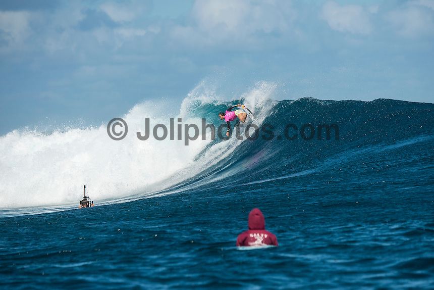 Namotu Island Resort, Nadi, Fiji (Tuesday, May 31 2016): The  2016 Fiji Women's Pro wrapped up today with Johanne Defay (FRA) defeating Carissa Moore (HAW) in the 35 minute final. Defay dominated the final heat and had Moore needing a combination score by the end. The swell was in the 4'-6' range all day with clean conditions early before  strong Trade winds came in the  making the waves a bit choppy. Photo: joliphotos.com