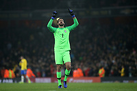 Brazil goalkeeper, Alisson Becker, celebrates their 1-0 victory at the final whistle during Brazil vs Uruguay, International Friendly Match Football at the Emirates Stadium on 16th November 2018