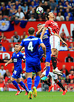 Zlatan Ibrahimovic of Manchester United challenges Robert Huth of Leicester City during the Premier League match at Old Trafford Stadium, Manchester. Picture date: September 24th, 2016. Pic Sportimage