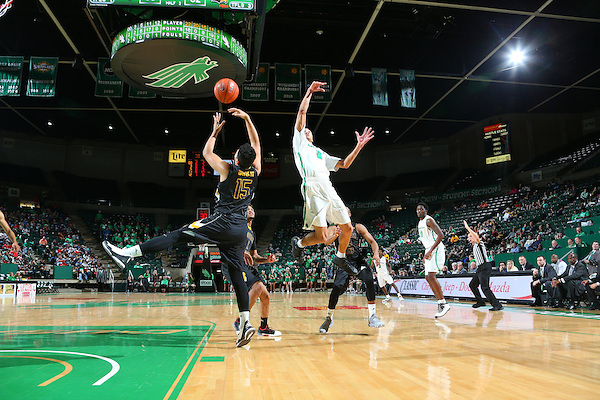 DENTON, TX - FEBRUARY 25: Mean Green Mens Basketball vUniversity of Southern Mississippi at Super Pit - North Texas Coliseum in Denton on February 25, 2016 in Denton, Texas. (Photo by Rick Yeatts)