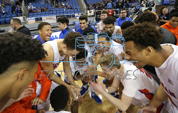 Bishop Gorman celebrates after defeating Bishop Manogue 62-41 for the 4A NIAA state basketball championship title in Reno, Nev., on Friday, Feb. 23, 2018. Cathleen Allison/Las Vegas Review-Journal