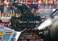 Sep 16, 2018; Mohnton, PA, USA; Detailed view of the engine on the dragster of NHRA top fuel driver Antron Brown during the Dodge Nationals at Maple Grove Raceway. Mandatory Credit: Mark J. Rebilas-USA TODAY Sports