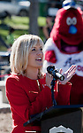 KOLO Channel 8 news anchor Sarah Johns speaks at the grand opening of Inspiration Station, located at Dick Taylor Park in Reno.  The Junior League of Reno and the City of Reno celebrated the opening of the regions only universally accessible playground on Saturday afternoon, October 20, 2012.