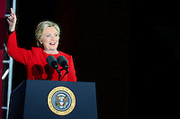 Philadelphia, PA - November 7, 2016: Democratic presidential candidate Hillary Clinton speaks to supporters during a campaign rally at Independence Hall in Philadelphia, PA, November 7, 2016, in a final push for votes.  (Photo by Don Baxter/Media Images International)