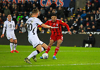 29th November 2019; Liberty Stadium, Swansea, Glamorgan, Wales; English Football League Championship, Swansea City versus Fulham; Aleksandar Mitrovic of Fulham scores his second goal in the 43rd minute to make the score 0-2 - Strictly Editorial Use Only. No use with unauthorized audio, video, data, fixture lists, club/league logos or 'live' services. Online in-match use limited to 120 images, no video emulation. No use in betting, games or single club/league/player publications