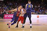League ACB-ENDESA 2017/2018 - Game: 20.<br /> FC Barcelona Lassa vs Retabet Bilbao Basket: 90-58.<br /> Thomas Heurtel vs Jonathan Tabu.