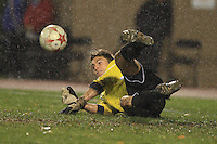 November 13, 2008: University of Michigan's Patrick Sperry (#1) saves a kick on goal during the first round of the 2008 Big Ten Tournament in Madison Wisconsin..